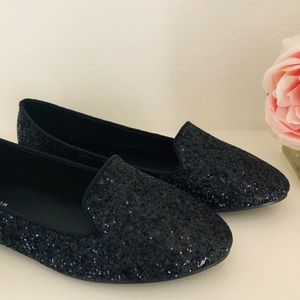 Black Glitter Loafers